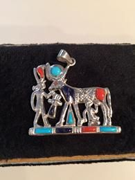 """The Gift"" in Silver with Man Made Turquoise, Coral and Lapis"