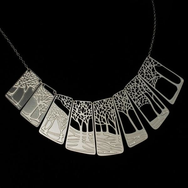 """Winter"" Necklace Stainless Steel Silver Plated by Alucik"