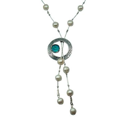 Ancient Roman Glass Lariat Necklace with Circle Design and Pearls