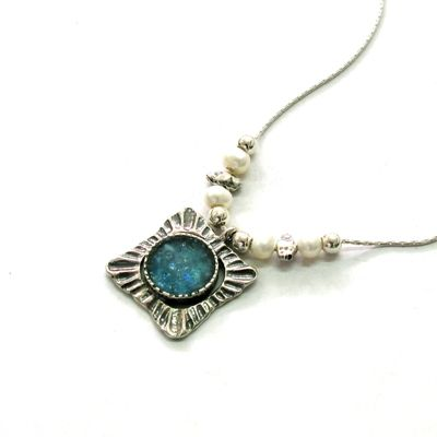 Ancient Roman Glass Necklace with Textured Sterling Silver and Pearls