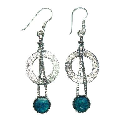 Ancient Roman Glass Circular Earrings with Knotted Design
