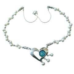 Ancient Roman Glass Heart Necklace with Pearls