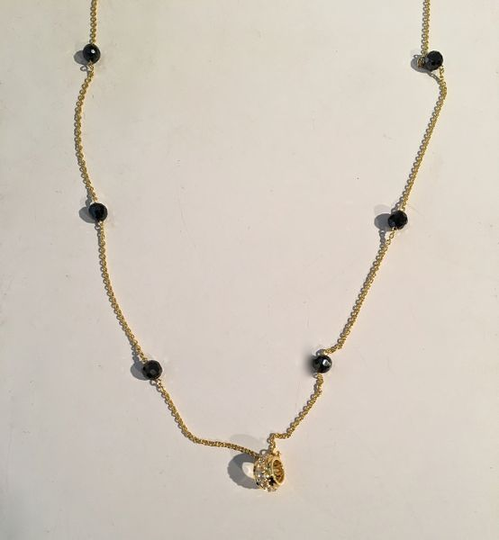 Circle of Love Collection- gold plated chain with onyx beads