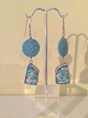 Ancient Roman Glass Earrings with Blue Lava Stone