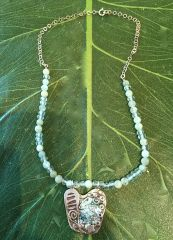Silver Medallion Pendant on Jade Bead Necklace