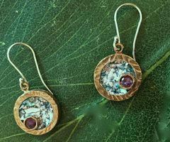 Ancient Roman Glass Round Earrings with Amethyst