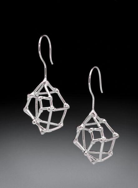 Crystal Shaped Silver Earrings