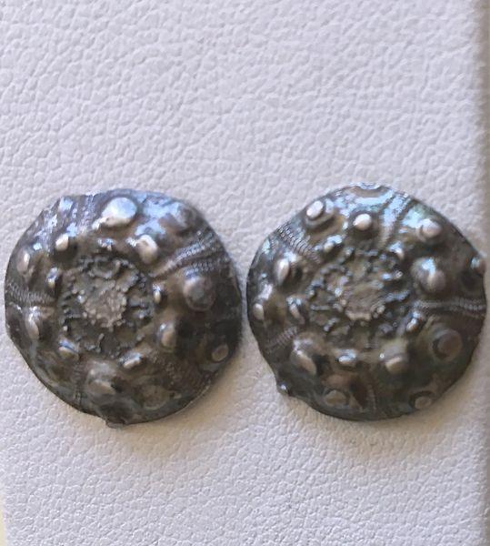 Sea Urchin Silver Stud Earrings