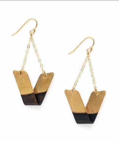 """Brass and Oxidized Brass """"Folded"""" Earrings"""