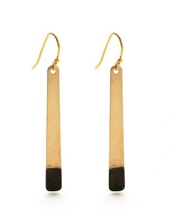 "Brass and Oxidized Brass ""Bar"" Earrings"