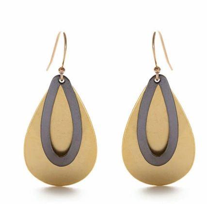 Teardrop Brass and Oxidized Brass Earrings