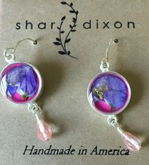 Larkspur on Magenta Enamel Earrings