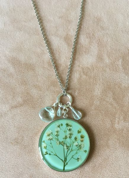 Baby Breath Necklace on Aqua Enamel with Crystals