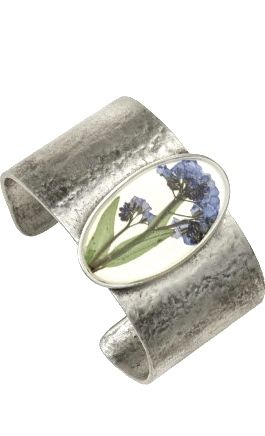 Forget Me Not on Linen Cuff Bracelet