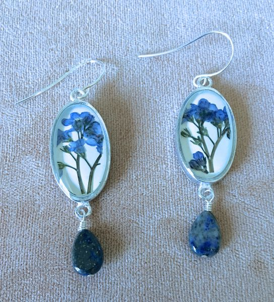 Forget Me Not Oval Earrings On Linen with Lapis Drop