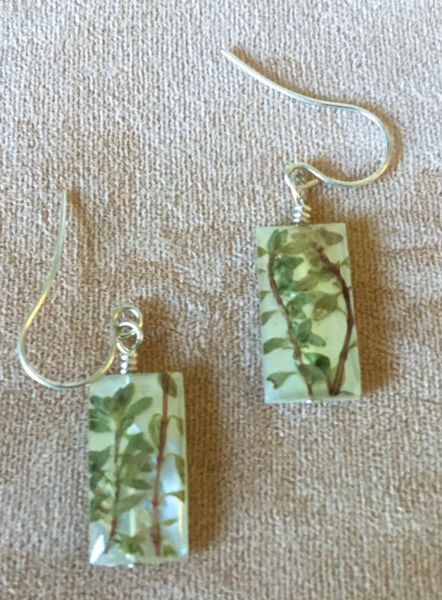 Thyme Herb Leaves Earrings on Natural Shell