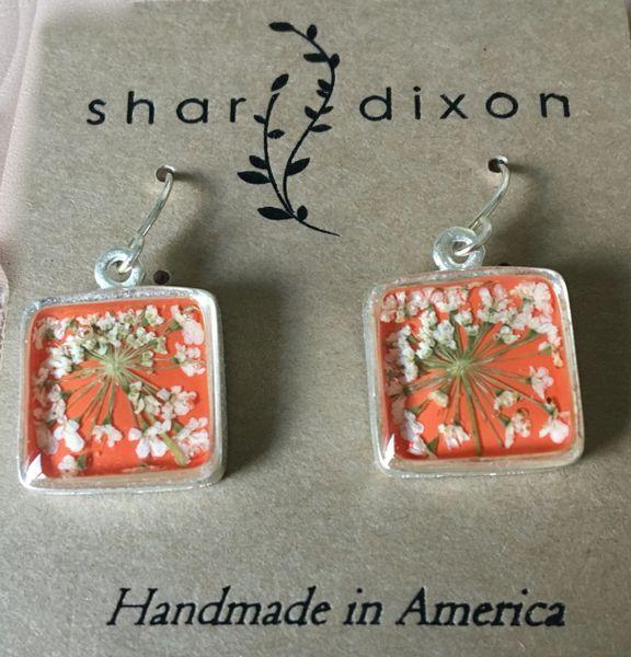 Lace Flower Earrings on Orange Enamel