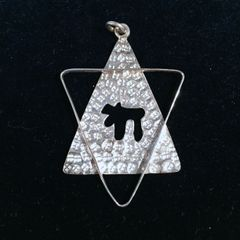 Silver Star of David and Chai Pendant