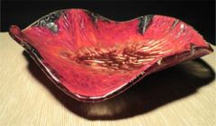 Fused Copper and Glass Fluted Dish