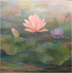 Pink Lotus Painting by Amira Dvorah