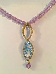 Ancient Roman Glass Teardrop Necklace with Amethyst Beads