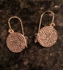 18 K Gold Plated Round Earrings with Swarovski Crystals