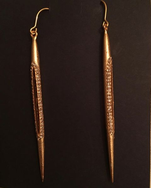 "18K Gold Plated ""Stiletto"" Earrings with Swarovski Crystals"