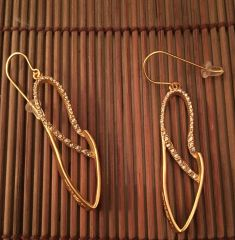18K Gold Plated Silouette Shaped Earrings with Swarovski Crystals