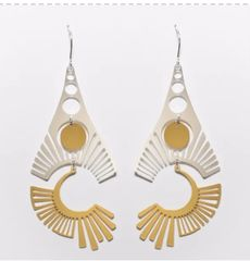 "NEW! ""Radiate""-Mixed Gold and Silver Plated Earrings"