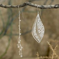 """Cascade"" Earrings -Silver Plated Stainless Steel"