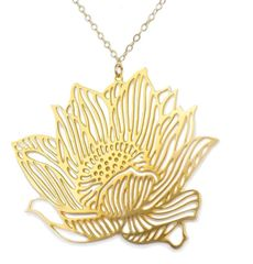 "NEW! "" Lotus"" Necklace in Gold Plated Stainless Steel"