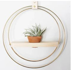 Handmade Brass and Wood Plant Shelf