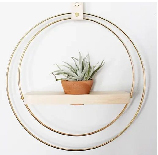 Handmade Brass and Wood Plant Shelf