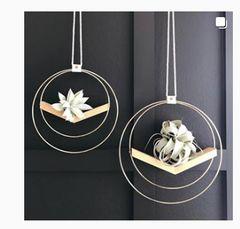 Handmade V Shaped Wood and Brass Hanging Plant Holder