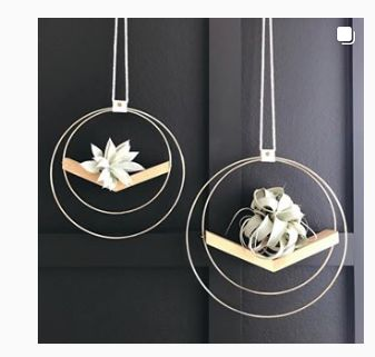 Handmade V Shaped Wood and Brass Hanging Plant Holder