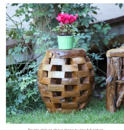Hand Carved Teak Pedestal/Stool-Puzzle Design