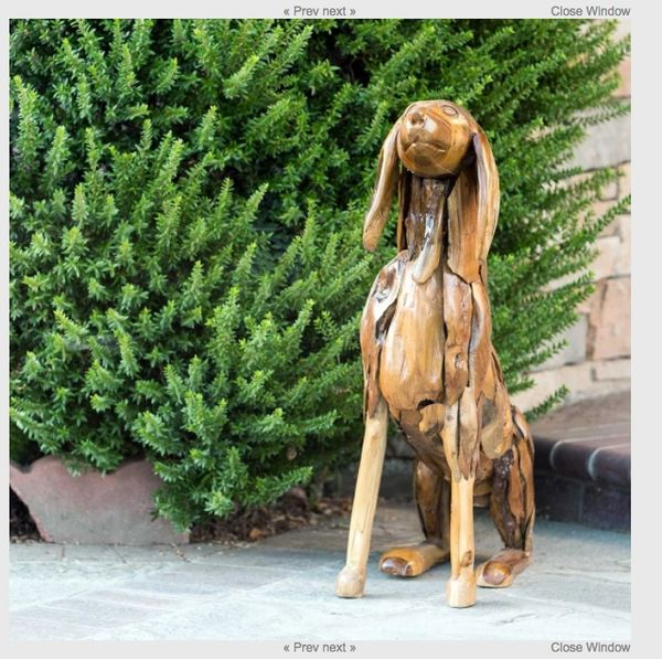 Hand Carved Teak Wood Dog