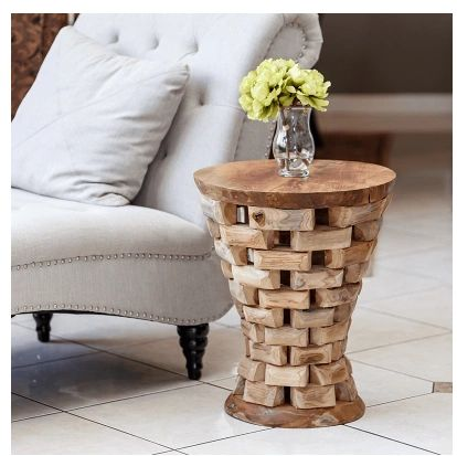 Puzzled Teak Hour Glass End Table