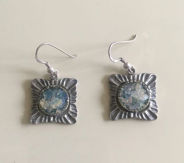 Ancient Roman Glass Square Earrings with Textured Sterling Silver