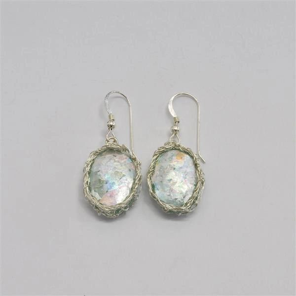 Ancient Roman Glass Oval Earrings with Hand Crocheted Silver