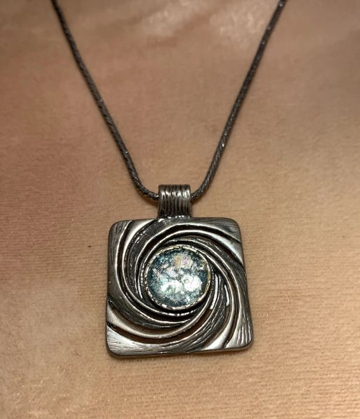 """Ancient Roman Glass """"Wave"""" Design Necklace on Oxidized Silver Chain"""