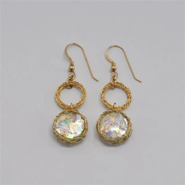 Ancient Roman Glass Earrings with Hand Crocheted Gold Plating