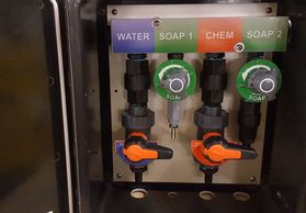 metering proportional valve, bleach mixing, pro portioner, soft wash mixing metering, hydro-mixer