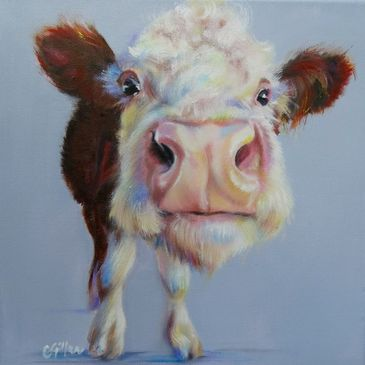 Hereford original oil painting of brown and white cow by Carol Gillan.