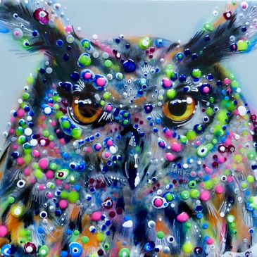 Barn Owl original oil painting with neon resin droplets and clear resin layer on box canvas by Carol Gillan