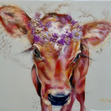 Cow oil painting with flowers and resin by Carol Gillan
