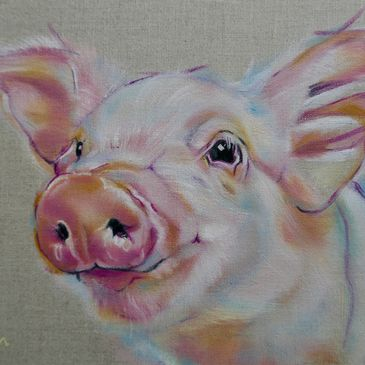 Piglet in oil paints on linen with pink nosey Carol Gillan