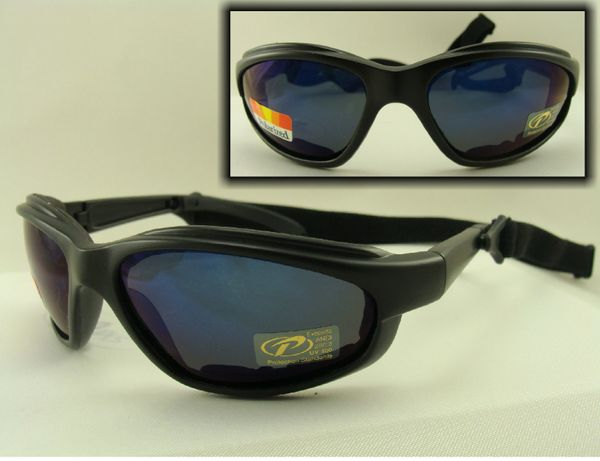 PADDED POLARIZED BLUE MIRROR LENS SUNGLASSES PACIFIC COAST FREEDOM