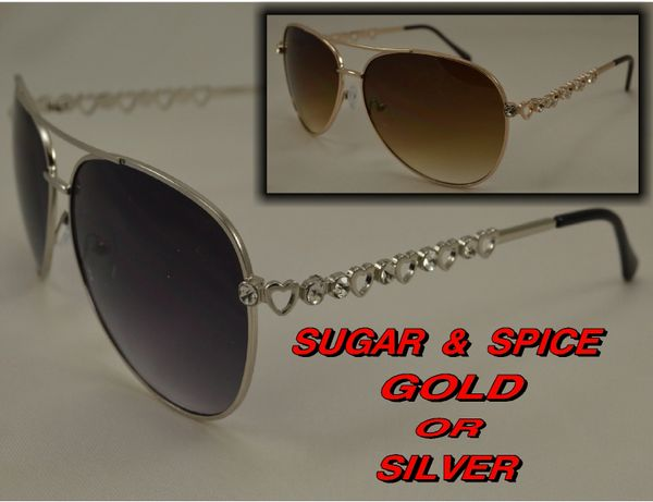 LADY AVIATORS SUGAR & SPICE HEART & RHINESTONES RS13201AP