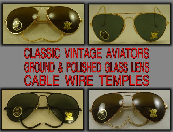 Vintage Aviators Ground & Polished Glass Lens Cable Wire Temples